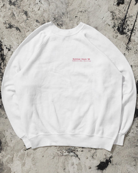 "White ""Summer Stock"" Raglan Sweatshirt - 1980s"