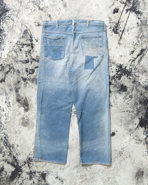 JC Penny's Sun Faded and Repaired Jeans - 1960s