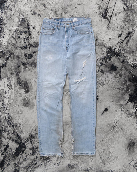 Levi's 505 Faded Blue Destroyed Hem Jeans - 1990s