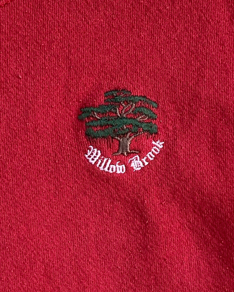 "Scarlett ""Willow Brook"" Embroidered Cut-off Crewneck Sweater - 1990s"