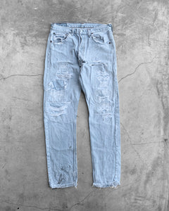 Levi's 501 Repaired Painted Flag Jeans - 1990s