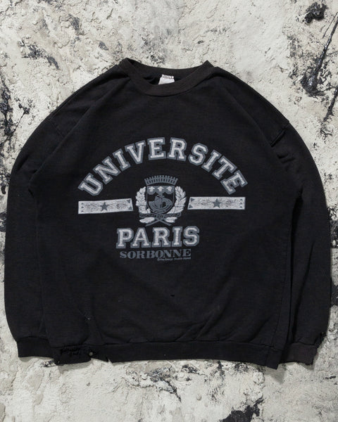 "Black ""Universite Paris"" Sweatshirt - 1980s"