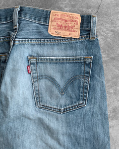 Levi's 501 Faded Blue Distressed Jeans - 1990s