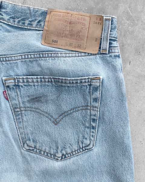 Levi's 501 Faded Blue Stained Jeans - 1990s