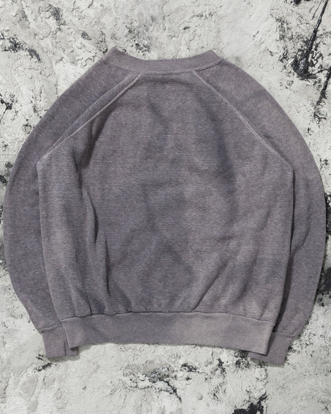 Faded Violet Grey Raglan Sweatshirt - 1980s