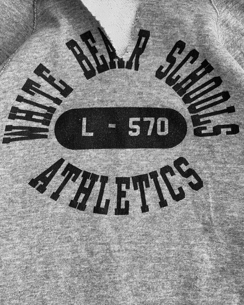 "Heather Grey ""White Bear Schools Athletics"" Raglan Hoodie - 1980s"