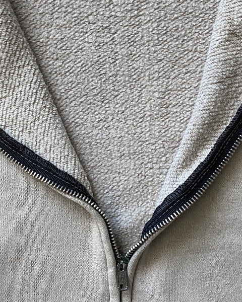 Distressed Grey Zip-Up Hooded Sweatshirt - 1970s