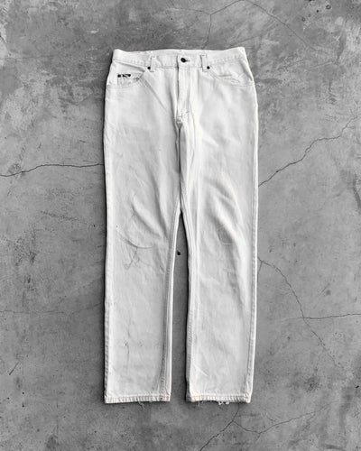 Lee Stained Distressed White Jeans - 1990s