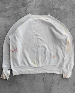 White Thrashed Raglan Sweatshirt - 1970s