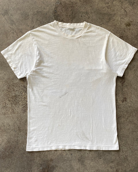 Single Stitched Blank Cream Tee - 1970s