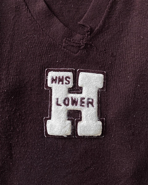 "Maroon ""HHS Lower"" Distressed Collegiate Knitted Sweater - 1960s"