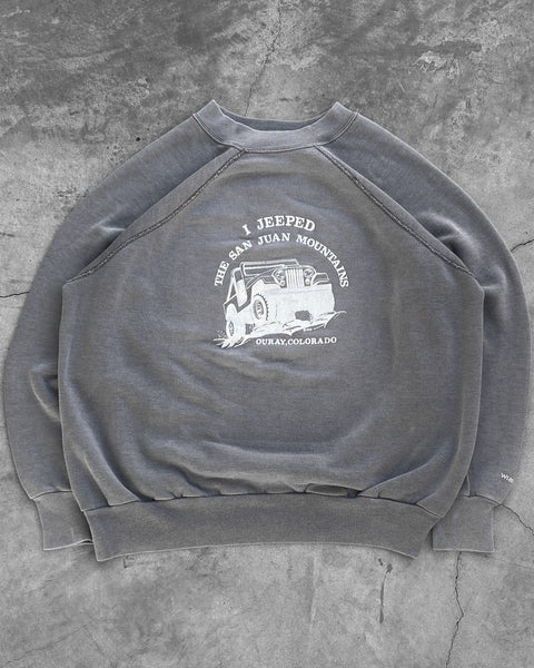 """I Jeeped The San Juan Mountains"" Grey Raglan Sweatshirt - 1980s"
