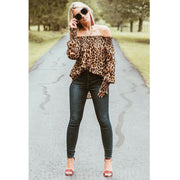 Off Shoulder Leopard Printing Tops - yogabodyshape