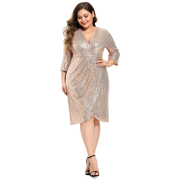 Plus Size Sequined Midi Dress - yogabodyshape