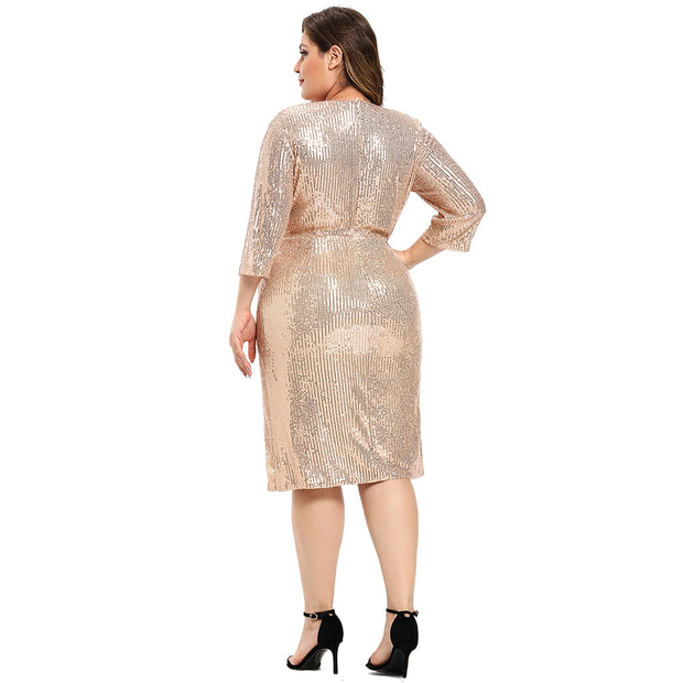 Plus Size Sequined Midi Dress - Yoga Body Shapes