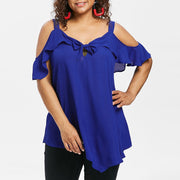 Plus Size Bow Ruffles Tops - yogabodyshape