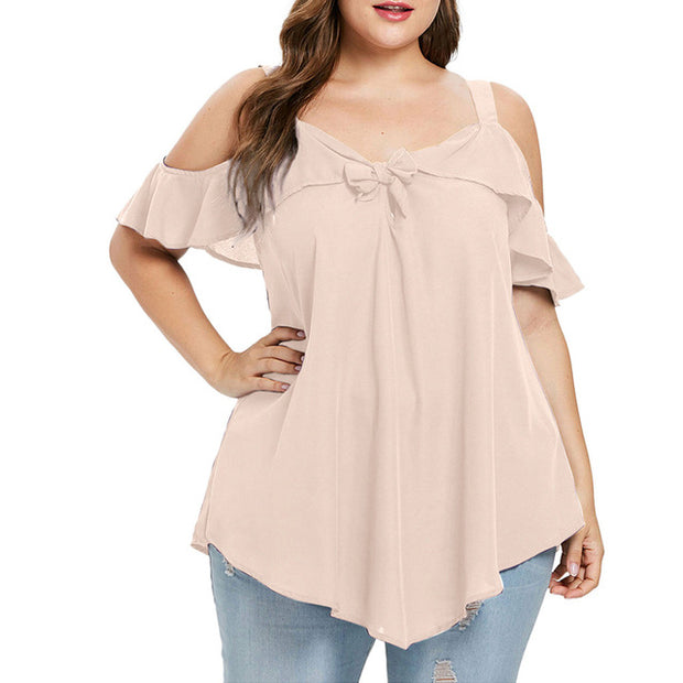 Plus Size Bow Ruffles Tops - Yoga Body Shapes
