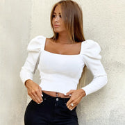 Puff Sleeve Square Collar Blouses Tops - yogabodyshape
