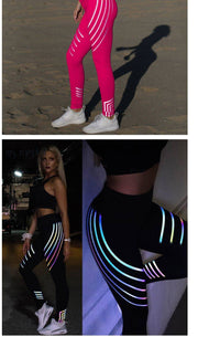 Reflective Striped Luminous Print Leggings - yogabodyshape