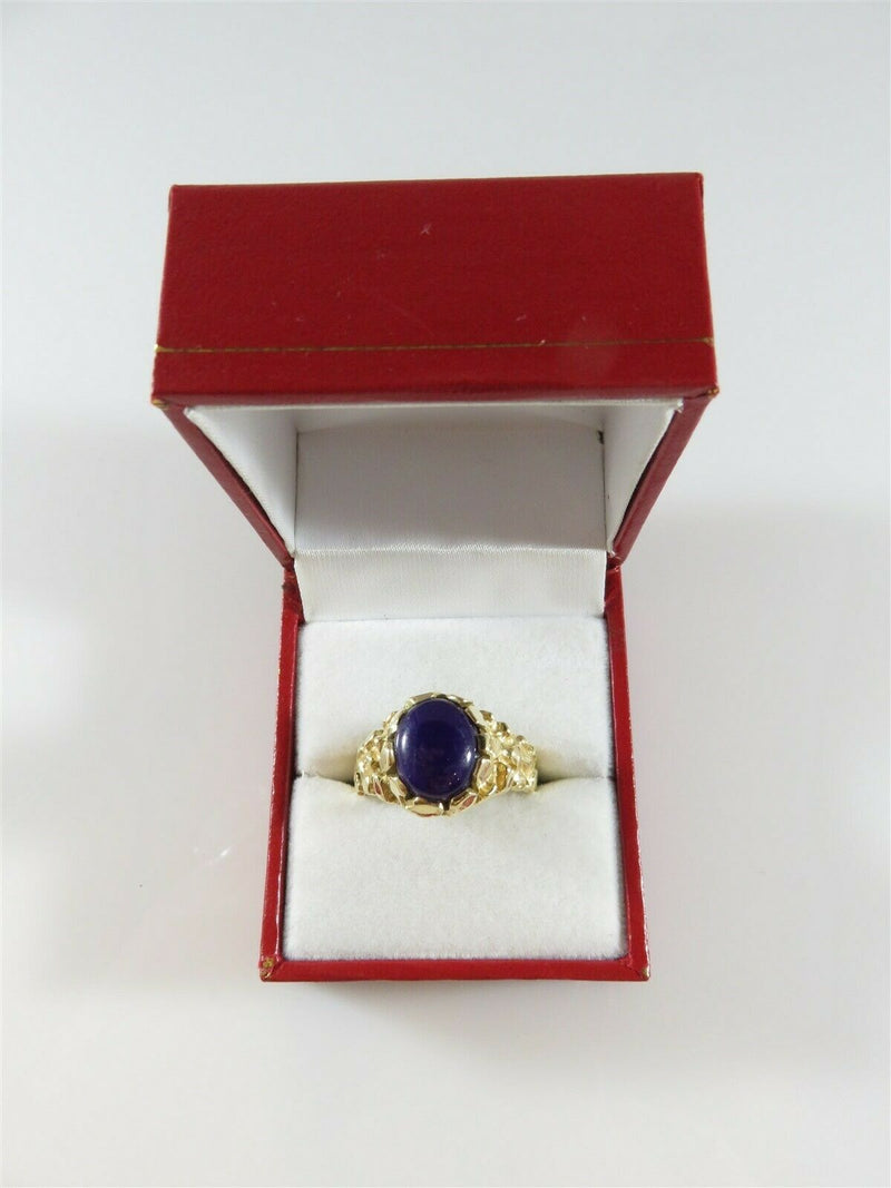 Men's Heavy 14K Nugget Solitaire Pinky Ring Purple Polished Stone Size 9.75 - Just Stuff I Sell