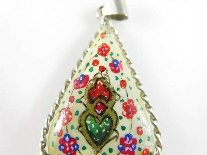 Antique Silver Mixed Metal Persian Tear Drop Hand Painted Lacquered Shell Pendant - Just Stuff I Sell