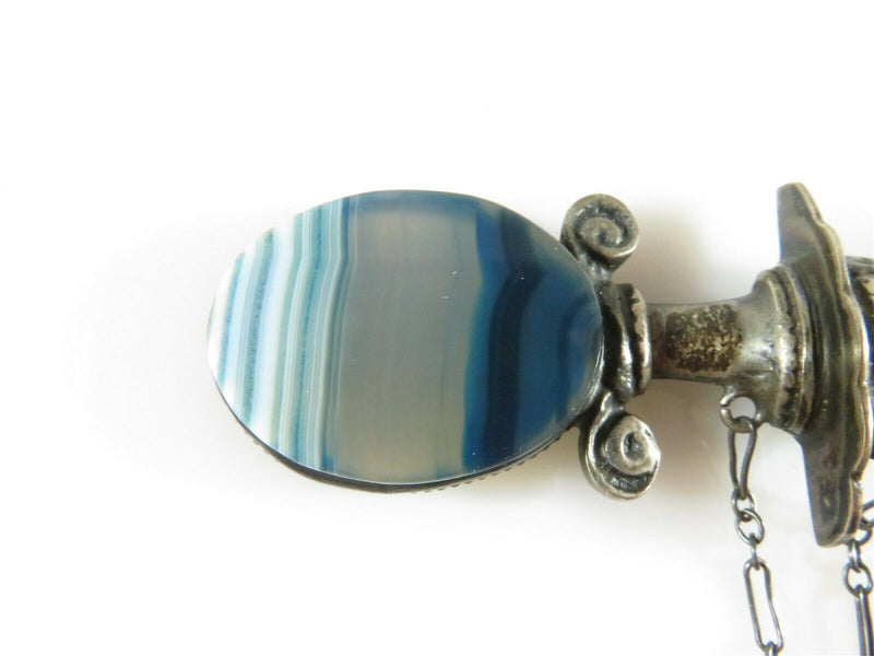 Vintage Dagger Brooch Banded Blue Agate, Quartz, Glass Sterling Silver Sword - Just Stuff I Sell