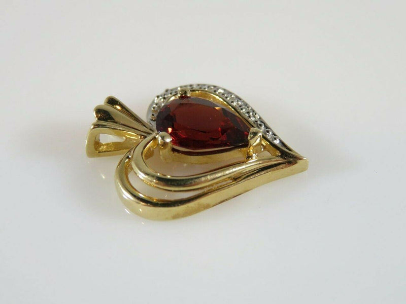 14K Heart Pendant with 1.3 Carat Pear Shaped Burgundy Garnet Yellow Gold Mounted - Just Stuff I Sell