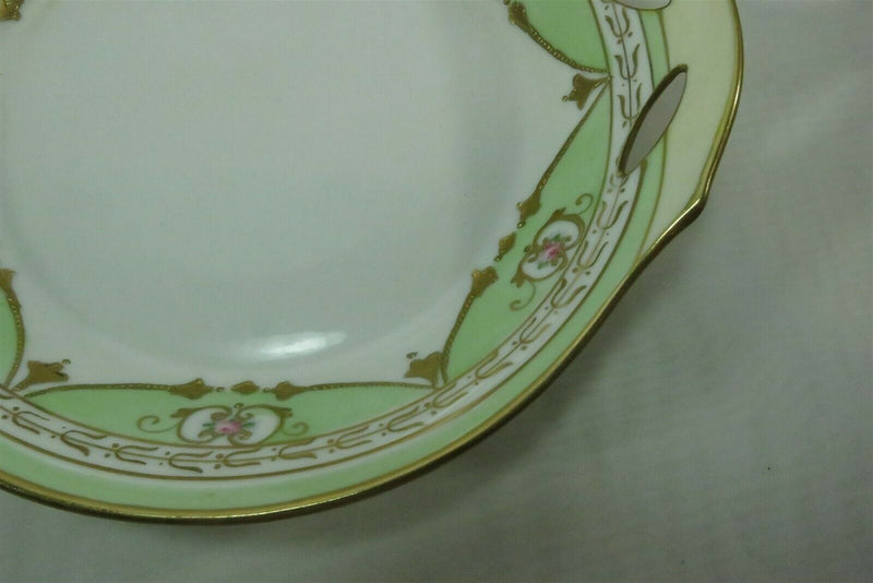 c1910 Early Hand Painted Nippon Service Bowl, Green, White, Floral, Gold Guilt - Just Stuff I Sell