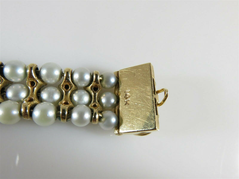 "Beautiful 83 Pearl 52 Turquoise 7"" TL Bracelet 14K Yellow Gold Setting 33.4 Gram - Just Stuff I Sell"