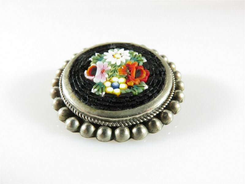 Vintage Floral Micro Mosaic Brooch Pin Alpaca Silver Well Executed - Just Stuff I Sell