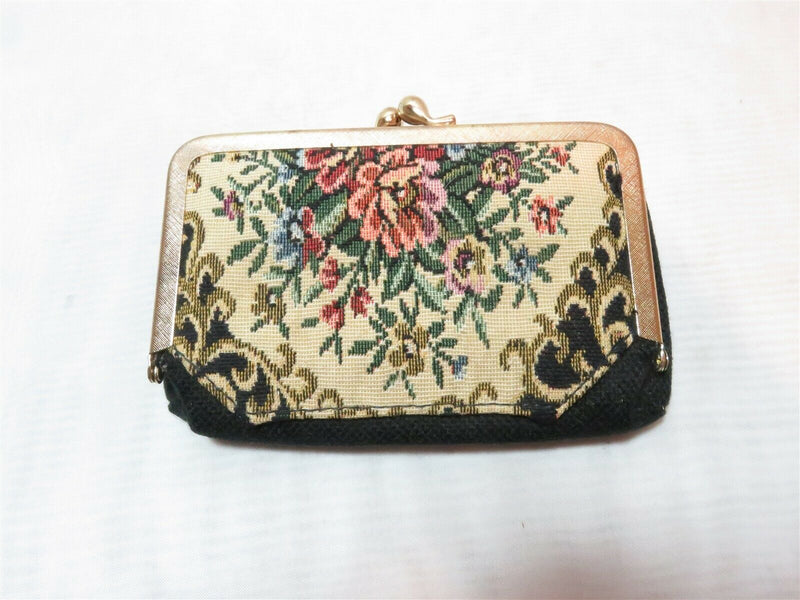 Nice Vintage Floral Design on Black Makeup Cosmetic Clutch with Mirror Japan - Just Stuff I Sell