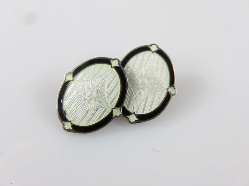 Antique Art Deco Sterling Silver Black and White Guilloche Enamel Cufflink For Repurpose - Just Stuff I Sell