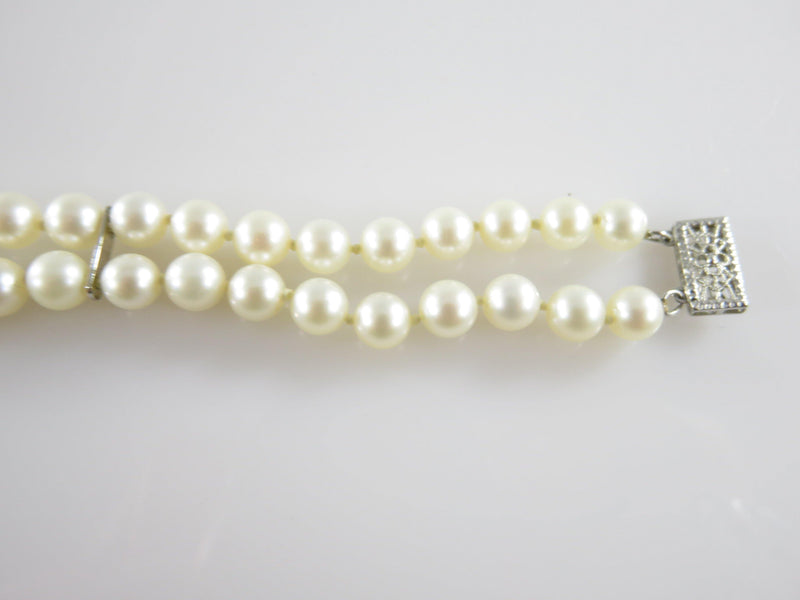 "10K White Gold 7"" Pearl Bracelet Double Strand 5.5mm Cultured Pearl Designer Bracelet - Just Stuff I Sell"
