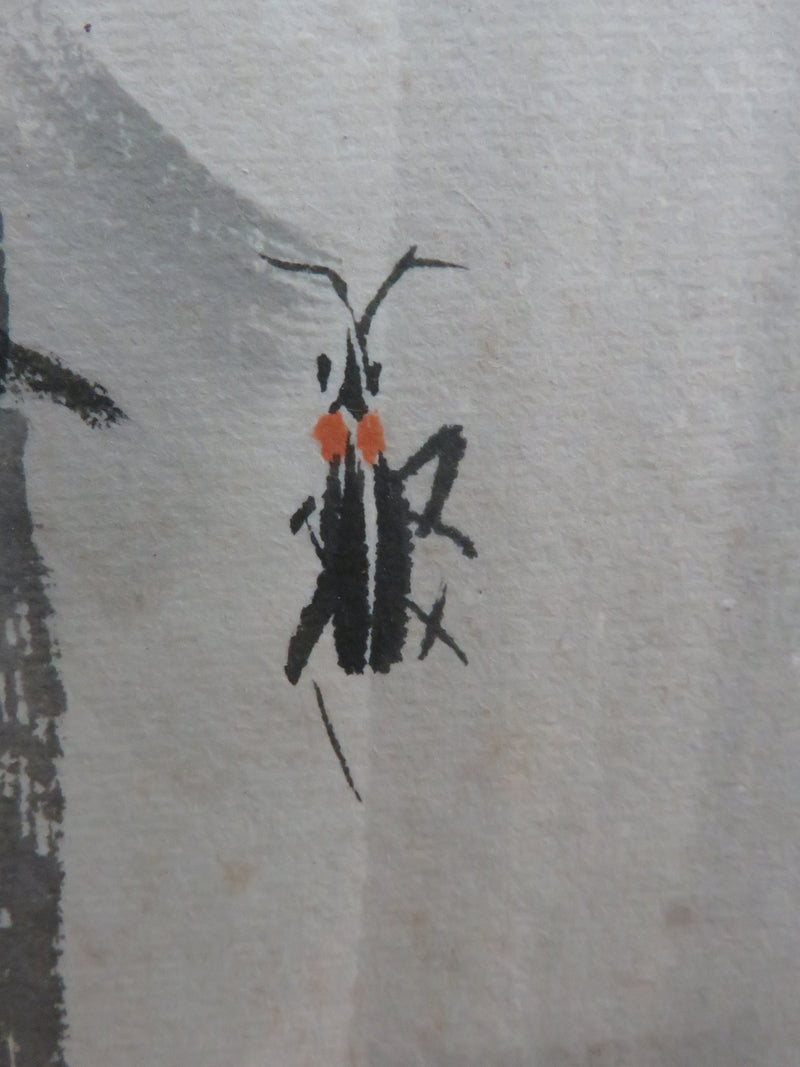 Antique Beetle Climbing Bamboo Ink Paint Original Work Antique Japanese Painting