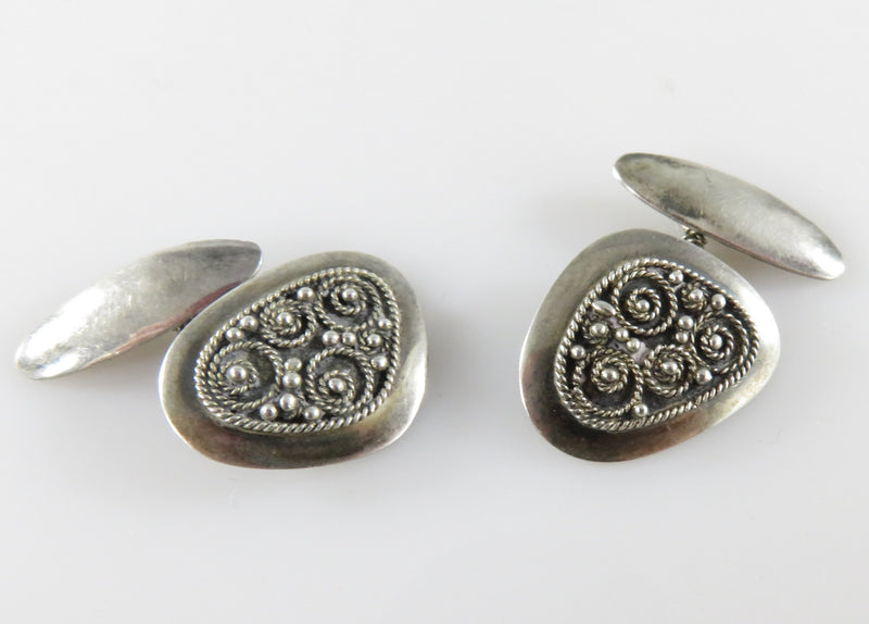 Antique Filigree & Ball Decorated Sterling Silver Cufflink with Bridge Pin Connection