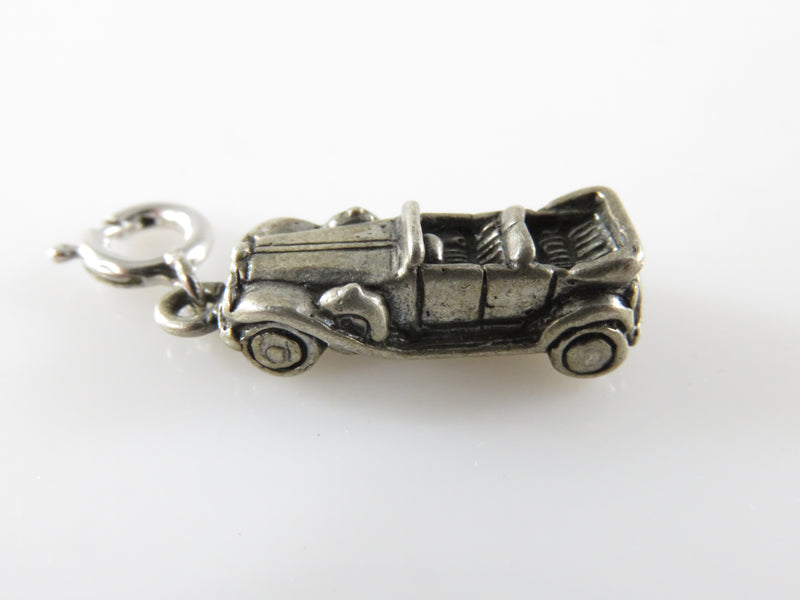 Vintage 3D Sterling Silver Old Antique Convertible Car Travel Charm C Clasp Charm