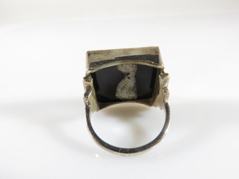 Artisan Sterling Ring Black Polished Acid Washed Checkered Glass Size 6.75 - Just Stuff I Sell