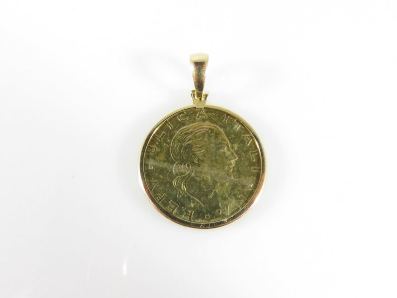 1995 Gold Gilt 200 Lire Italian Coin in 14K Milor Italy Gold Coin Holder Pendant 24mm - Just Stuff I Sell