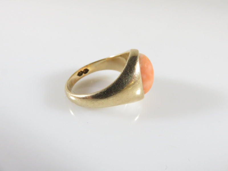 Antique 10K Yellow Gold & Polished Coral Cabochon Women's Ring Size 3.25 - Just Stuff I Sell