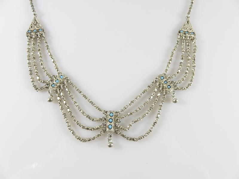 "Antique Sterling Edwardian Style Festoon 15"" Choker Necklace With Turquoise"