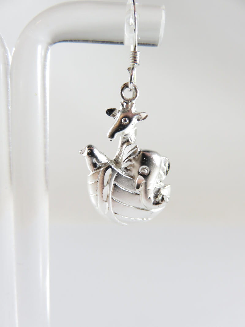 Nice Noah's Ark Elephant Giraffe & Bird Sterling Silver Dangling Earring Set