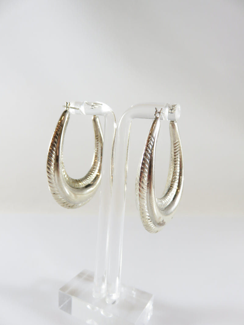 "925 1 3/4"" Puffy Oval Half Hoop Scalloped Dangling Earring Set Sterling Silver Pierced Ears"