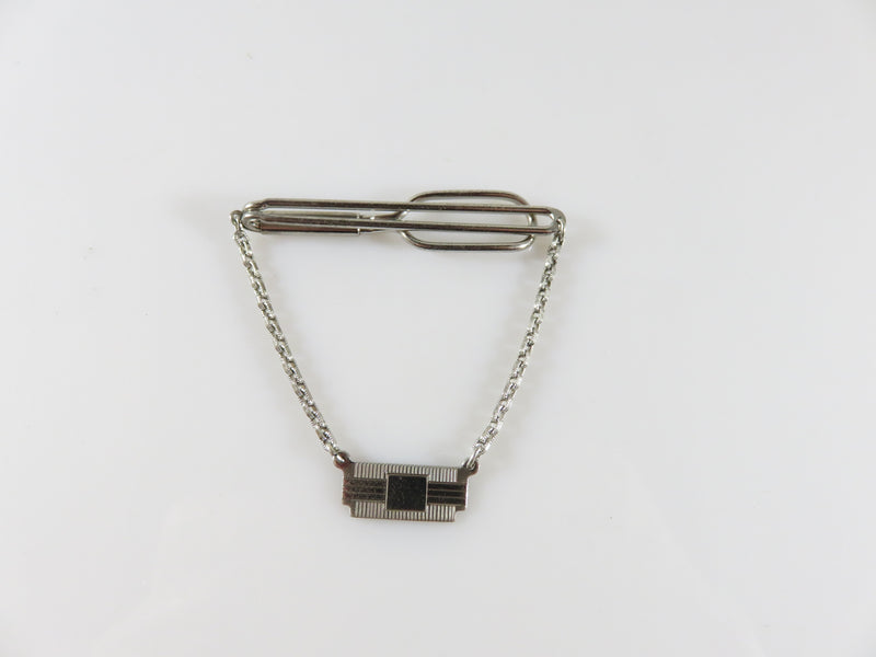 Vintage Swank Sterling Silver Tie Bar Clamp With Dangling Plaque for a Monogram