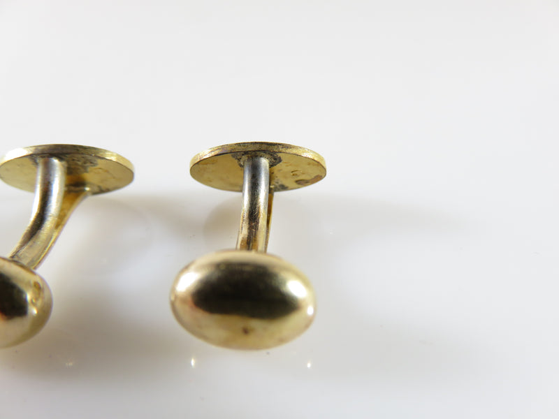 Edwardian Gold Filled Oval Scrolling Design Solid Curved Bean-Back Cufflinks