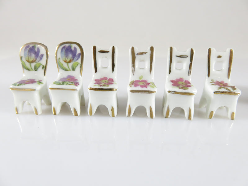 Vintage Fine Porcelain Dining Room Table & Chairs Dollhouse Miniature Made in France