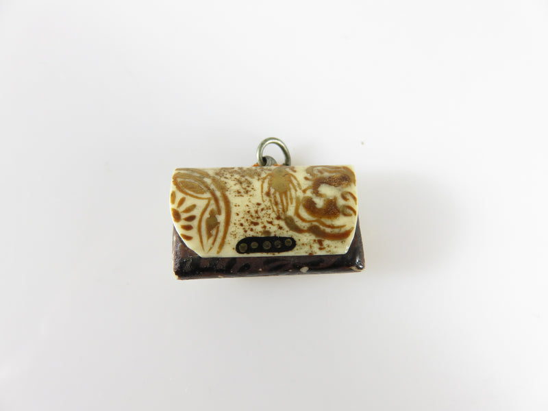 Antique Circa 1900 Japanese Charm Carved Bone secret Compartment Hand Painted