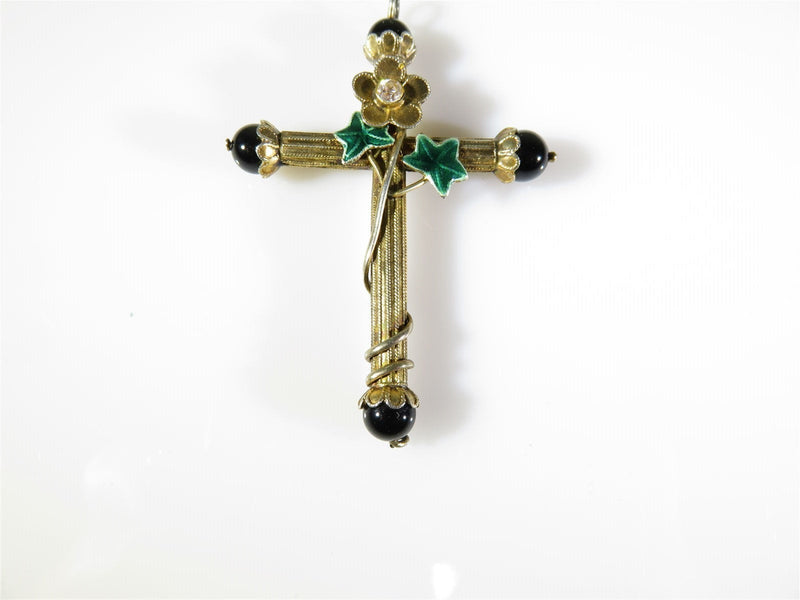 Vintage Victorian Style Sterling Silver Cross Enamel, Floral, Paste Stone, Onyx - Just Stuff I Sell