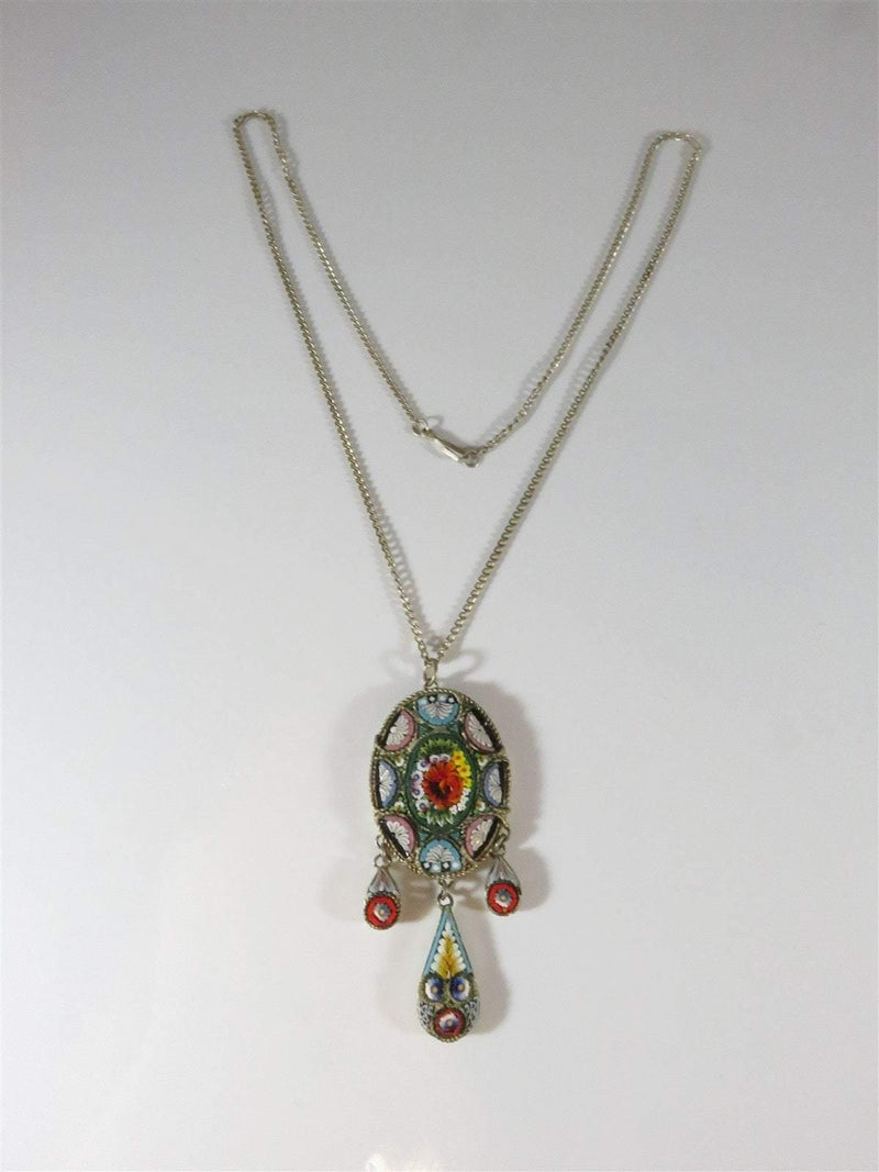 "Antique Micro Mosaic Grand Tour Souvenir Floral Dangle Pendant w/ 19"" Chain - Just Stuff I Sell"