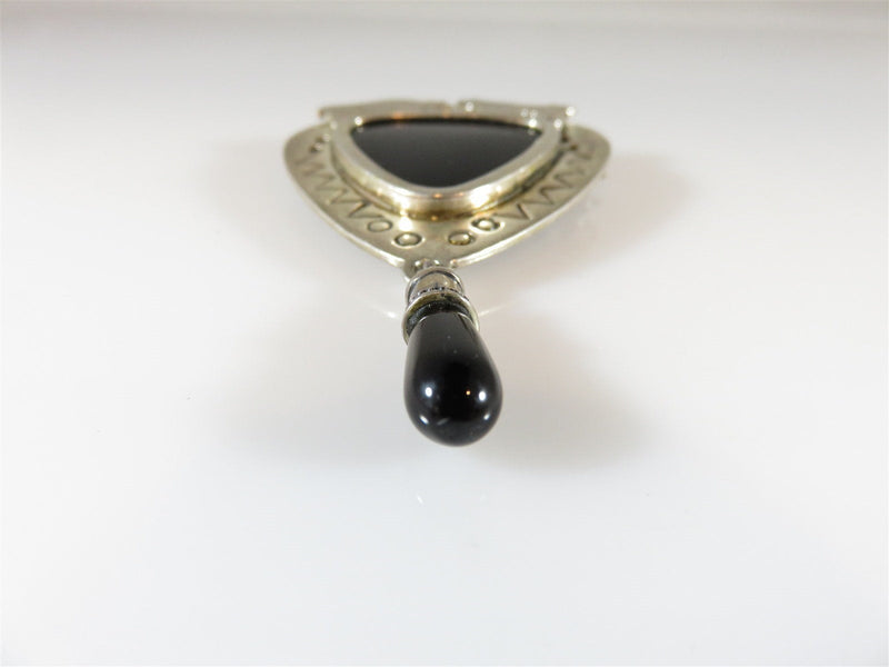 Vintage Sterling VH Vernon Haskie Bull Bear Onyx Navajo Brooch Pin Pendant - Just Stuff I Sell