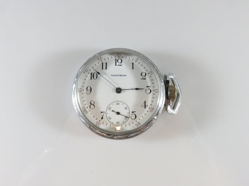 Waltham Model 1908 Traveler 7J 16S Pocket Watch Running Stainless Defiance Case - Just Stuff I Sell